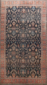 Pre-1900 Antique Sultanabad Vegetable Dye Persian Rug 12x17