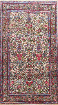 Antique Kerman Floral Persian Area Rug 7x10