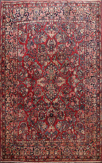 Antique Vegetable Dye Sarouk Persian Area Rug 9x12