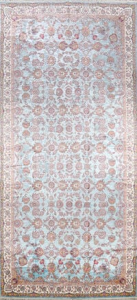 All-Over Floral Silk Large Tabriz Persian Area Rug 13x27