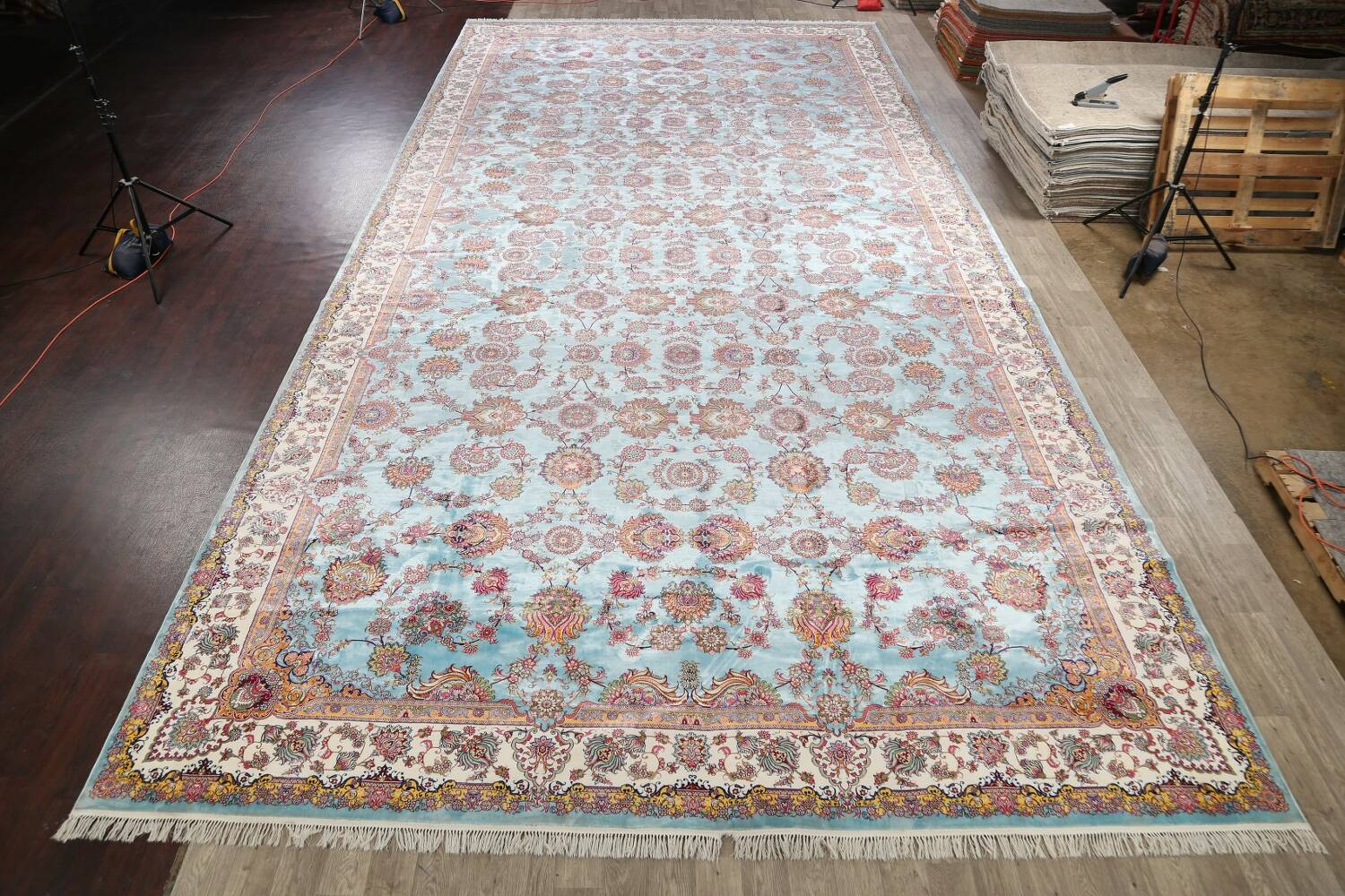 All-Over Floral Silk Large Tabriz Persian Area Rug 13x27 image 2