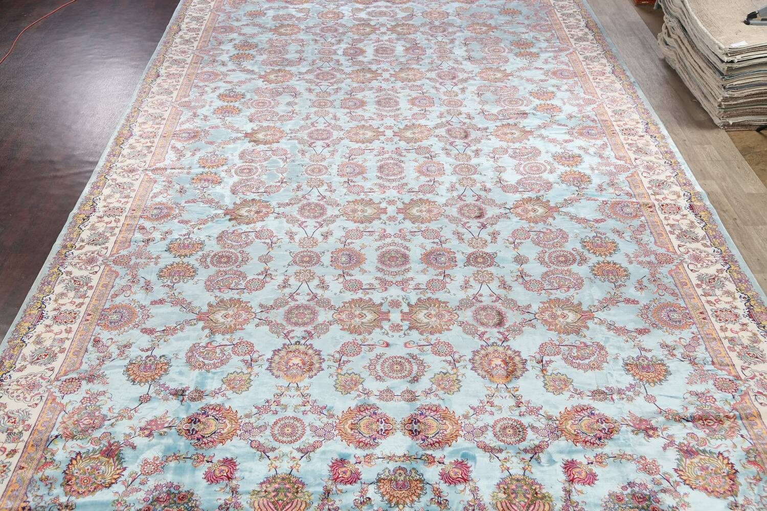 All-Over Floral Silk Large Tabriz Persian Area Rug 13x27 image 3