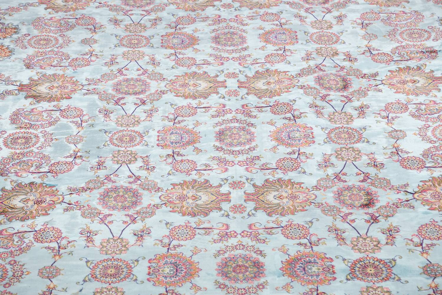 All-Over Floral Silk Large Tabriz Persian Area Rug 13x27 image 4