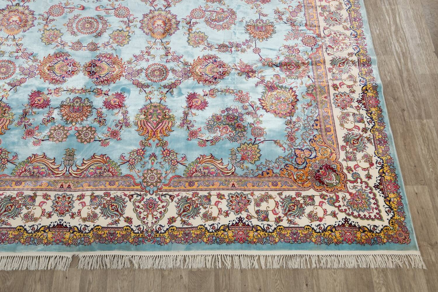 All-Over Floral Silk Large Tabriz Persian Area Rug 13x27 image 5