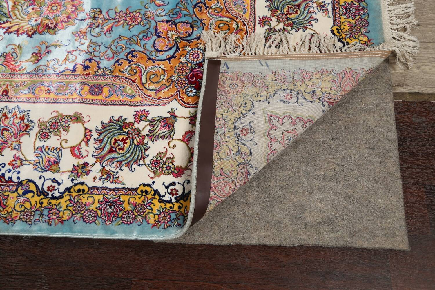All-Over Floral Silk Large Tabriz Persian Area Rug 13x27 image 7