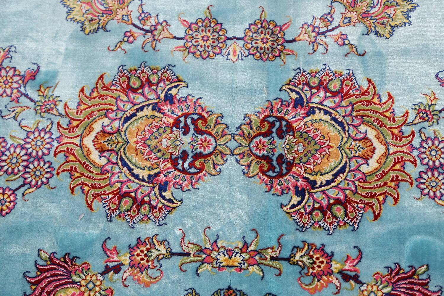 All-Over Floral Silk Large Tabriz Persian Area Rug 13x27 image 11