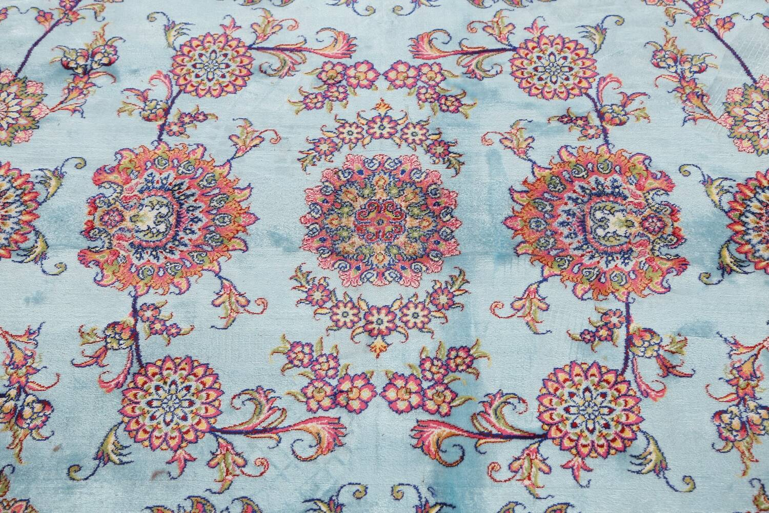 All-Over Floral Silk Large Tabriz Persian Area Rug 13x27 image 12