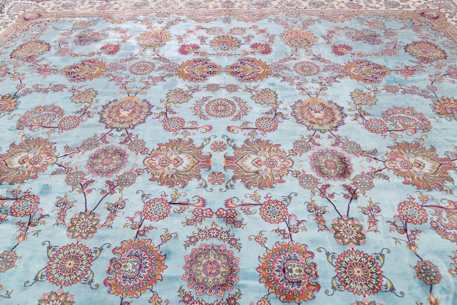 All-Over Floral Silk Large Tabriz Persian Area Rug 13x27 image 13
