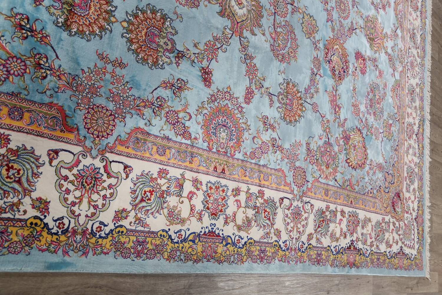 All-Over Floral Silk Large Tabriz Persian Area Rug 13x27 image 14