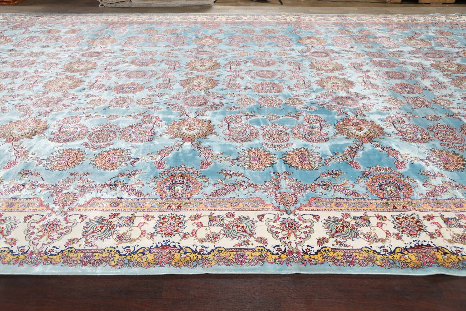 All-Over Floral Silk Large Tabriz Persian Area Rug 13x27 image 15