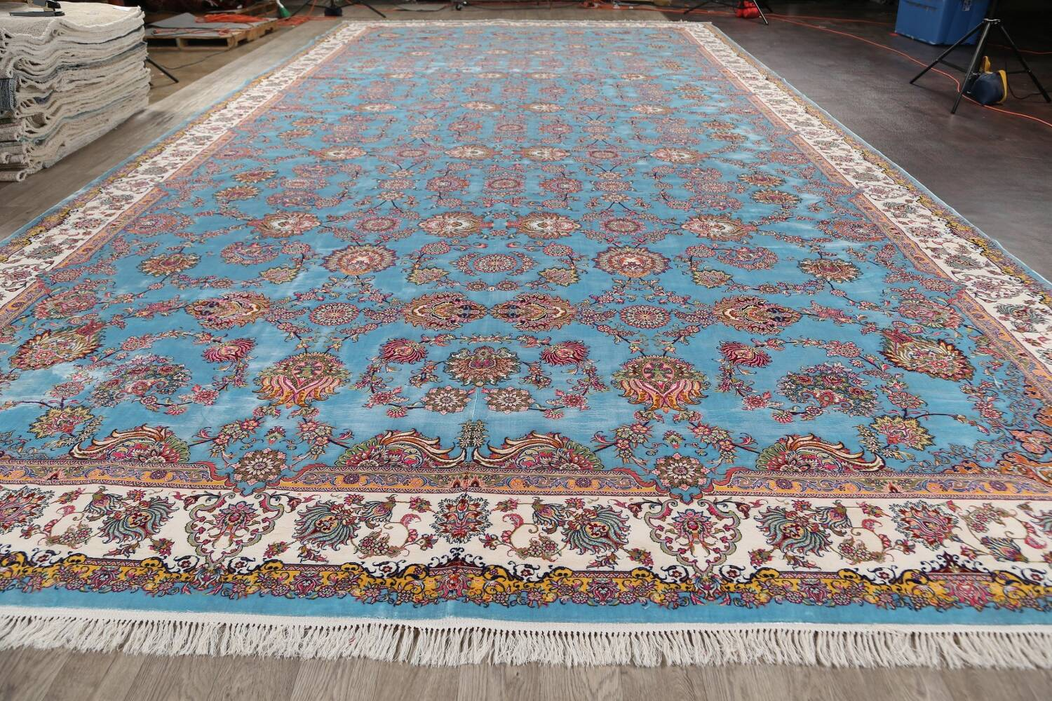 All-Over Floral Silk Large Tabriz Persian Area Rug 13x27 image 16