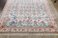 All-Over Floral Silk Large Tabriz Persian Area Rug 13x27 image 8