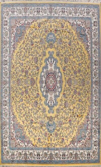 Large Floral Silk Tabriz Persian Area Rug 13x16