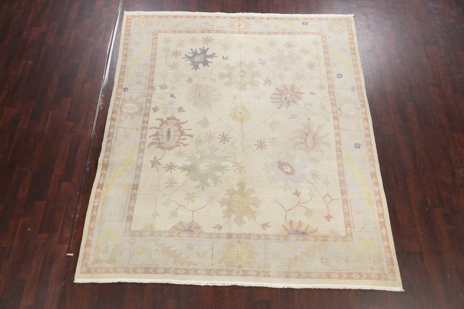 Muted Floral Oushak Egyptian Area Rug 8x9 image 2