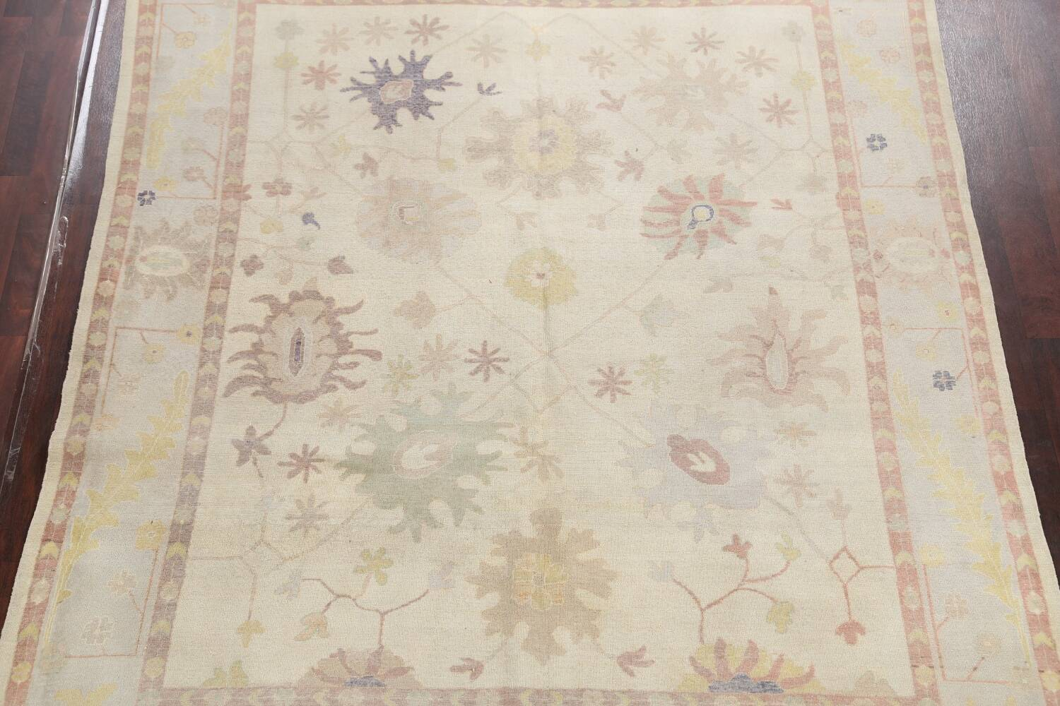 Muted Floral Oushak Egyptian Area Rug 8x9 image 3