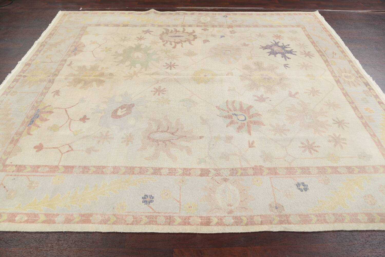 Muted Floral Oushak Egyptian Area Rug 8x9 image 13
