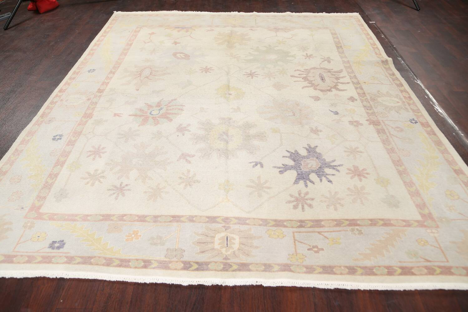 Muted Floral Oushak Egyptian Area Rug 8x9 image 14