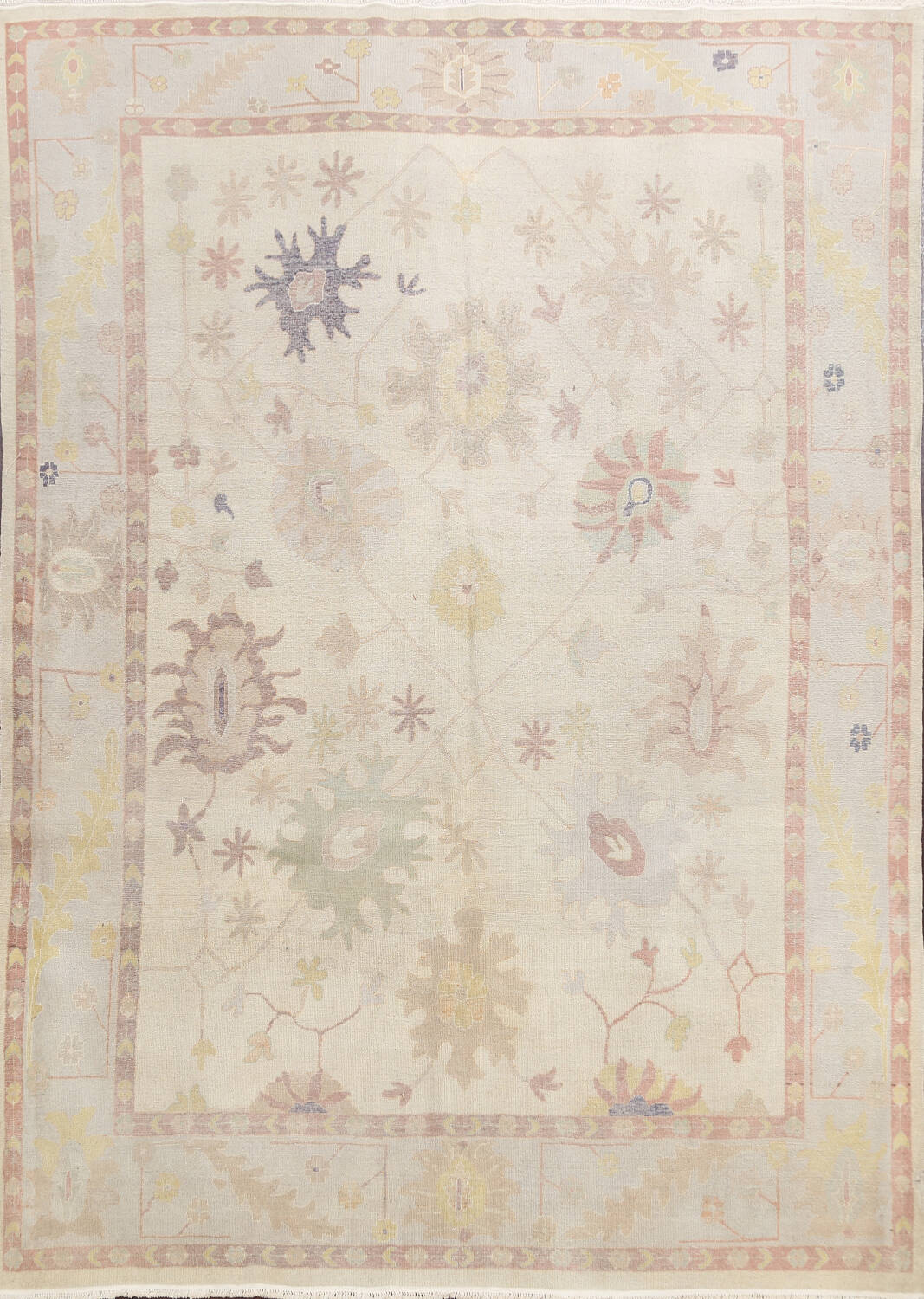 Muted Floral Oushak Egyptian Area Rug 8x9 image 1