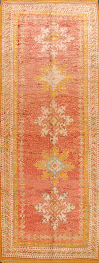 Antique Moroccan Vegetable Dye Oriental Runner Rug 4x11
