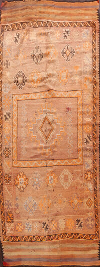 Antique Geometric Moroccan Oriental Runner Rug 5x12