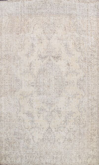 Muted Floral Vintage Distressed Oriental Area Rug 9x12