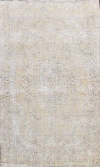 Muted Floral Vintage Distressed Oriental Area Rug 10x13