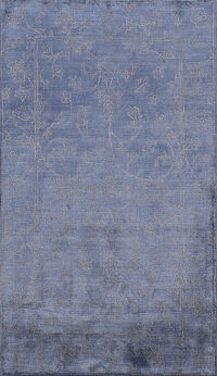 Transitional Blue Art Deco Oriental Area Rug 5x8