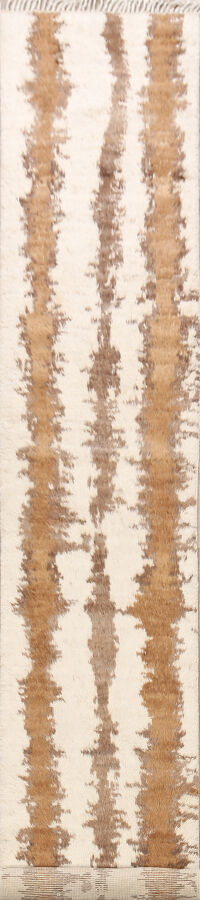Abstract Moroccan Oriental Runner Rug 2x12