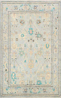 Light Blue Oushak Oriental Area Rug 5x7