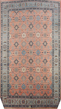 Vegetable Dye Mahal Sultanabad Persian Area Rug Signed 16x22