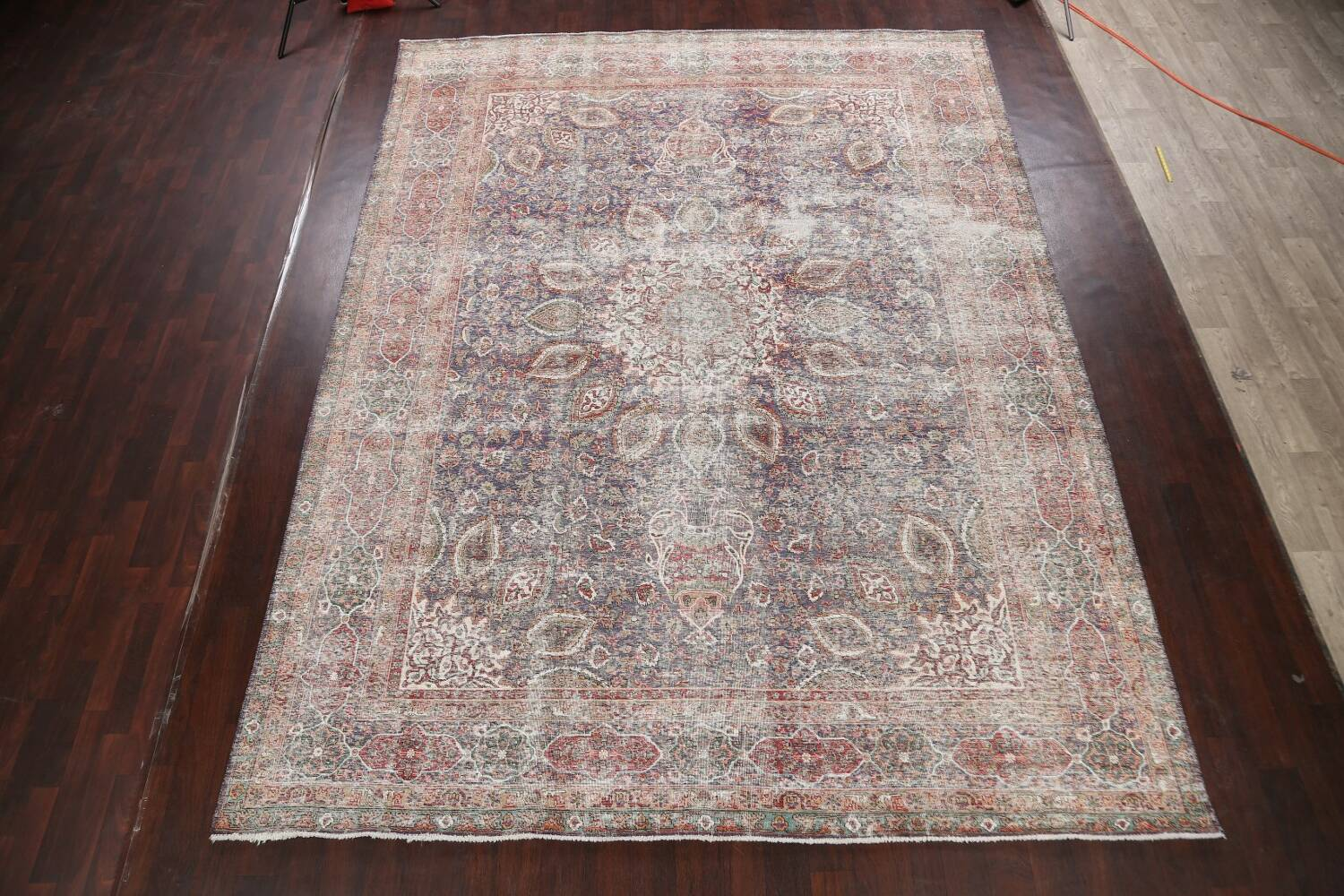 Antique Distressed Floral Tabriz Persian Area Rug 10x13 image 2