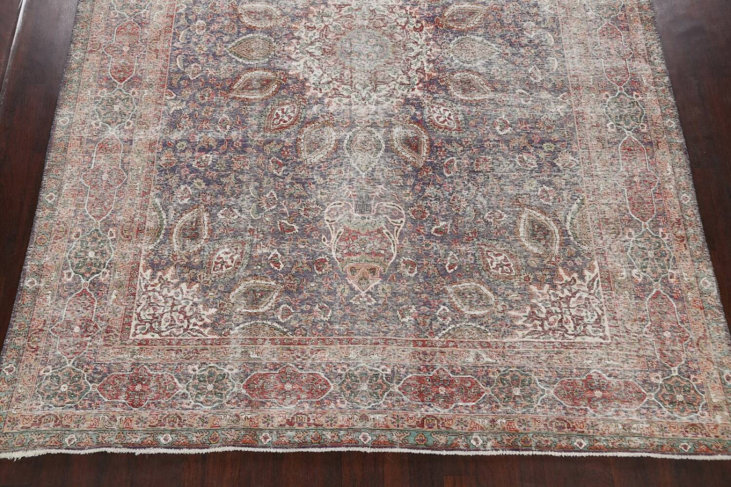 Antique Distressed Floral Tabriz Persian Area Rug 10x13 image 8