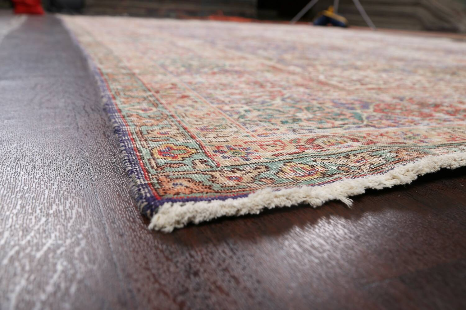 Antique Distressed Floral Tabriz Persian Area Rug 10x13 image 6