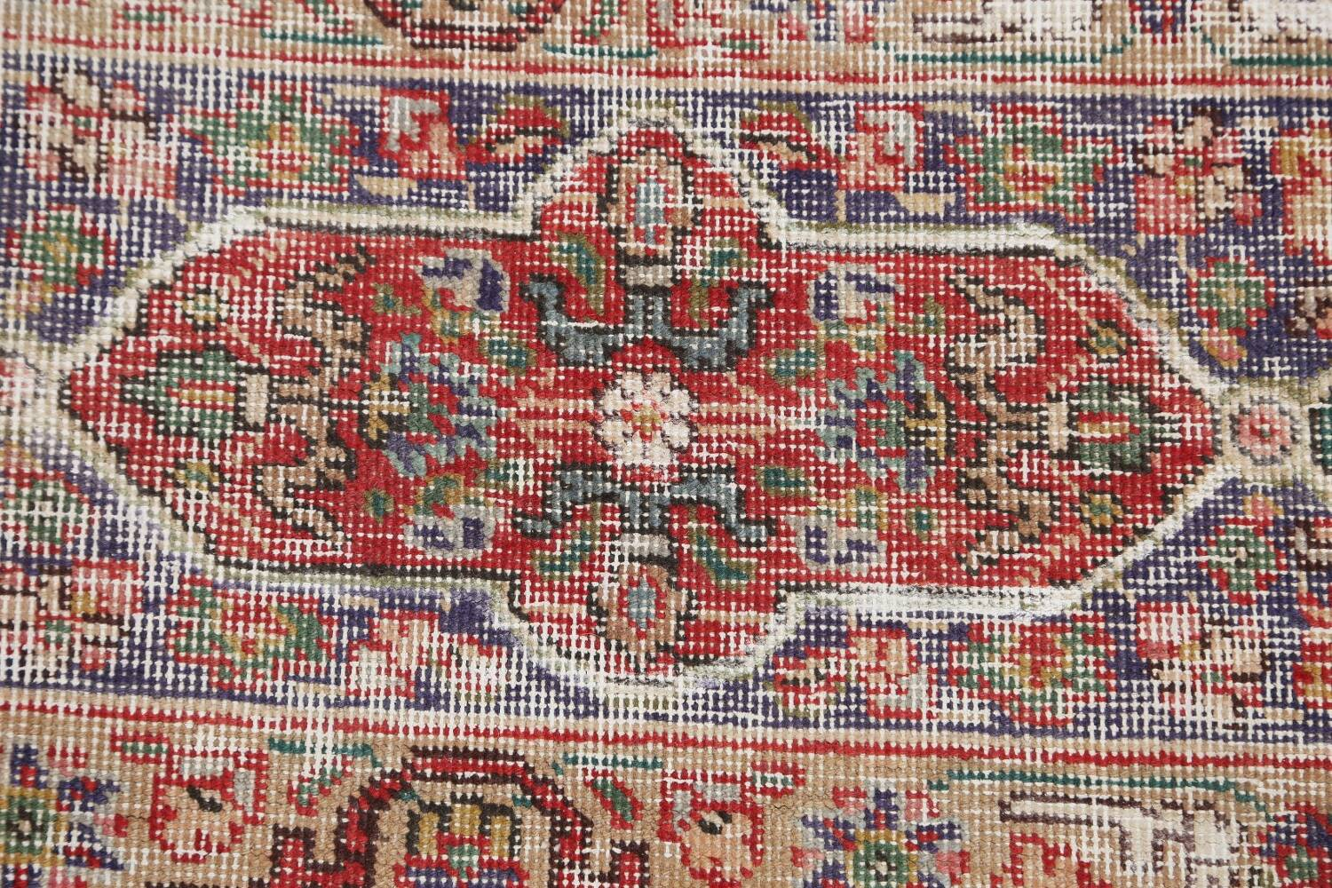 Antique Distressed Floral Tabriz Persian Area Rug 10x13 image 9