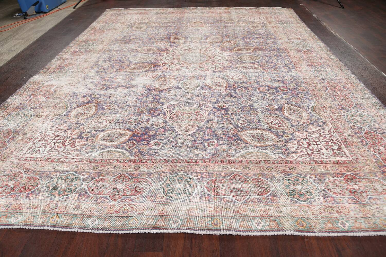 Antique Distressed Floral Tabriz Persian Area Rug 10x13 image 17
