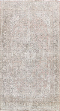 Antique Distressed Geometric Tabriz Persian Area Rug 8x11