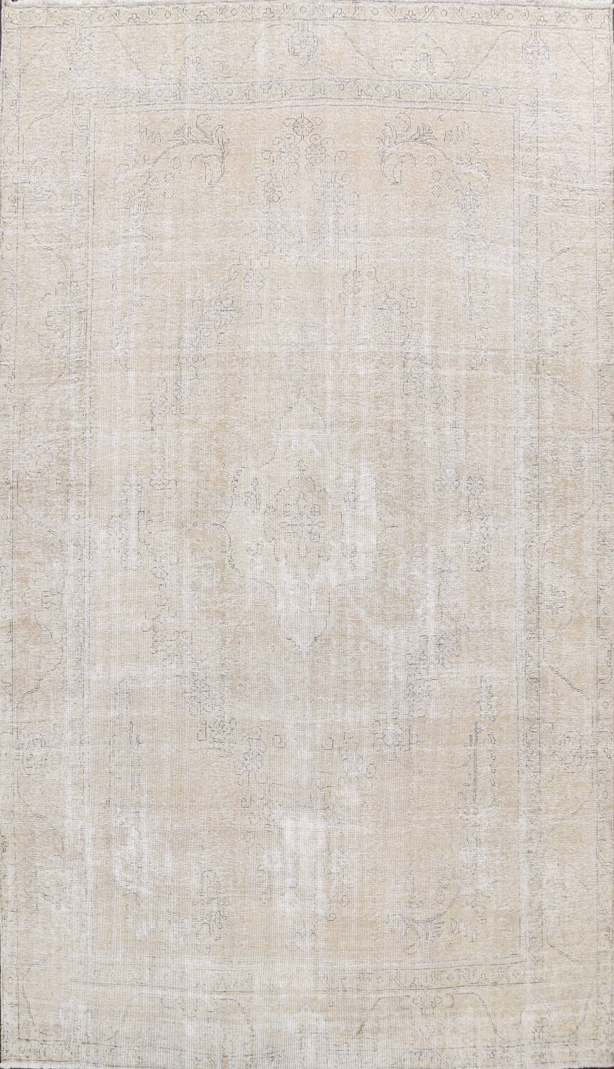 Muted Distressed Tabriz Persian Area Rug 10x13 image 1