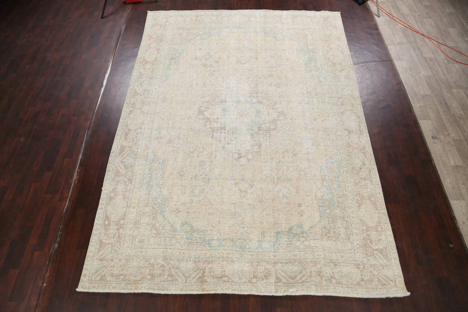 Antique Muted Distressed Tabriz Persian Area Rug 9x13 image 2