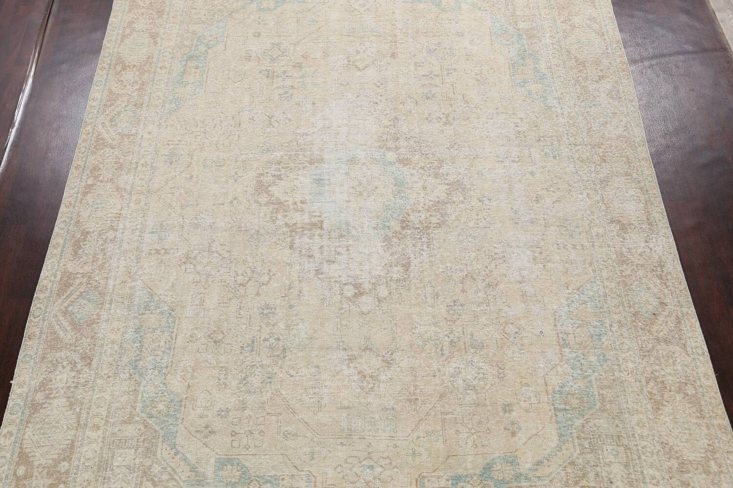 Antique Muted Distressed Tabriz Persian Area Rug 9x13 image 3