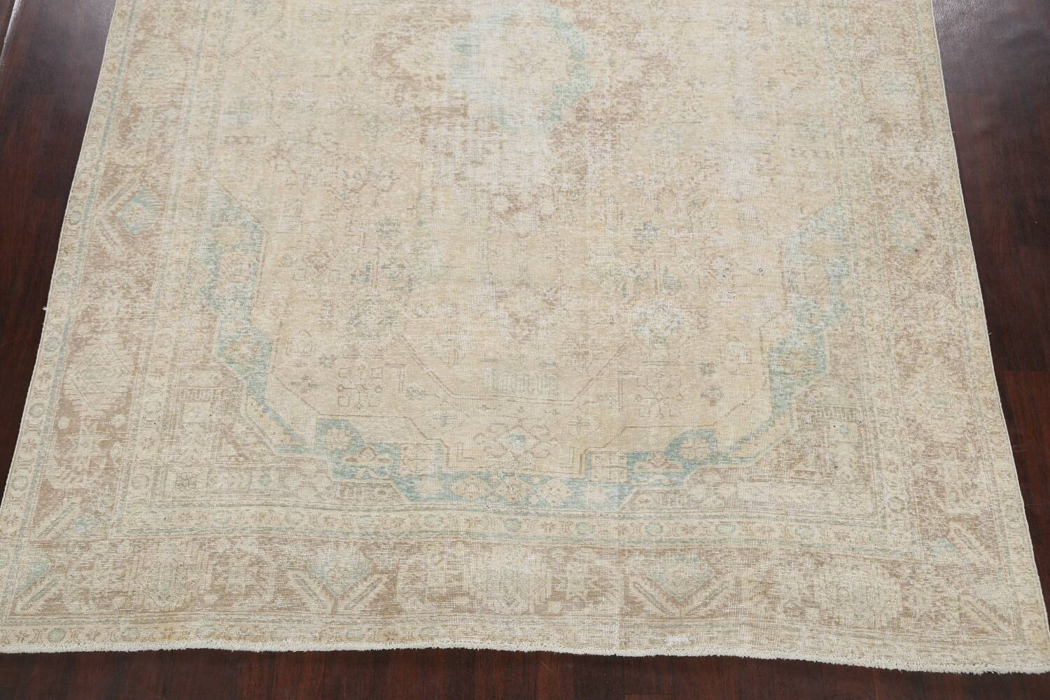 Antique Muted Distressed Tabriz Persian Area Rug 9x13 image 8