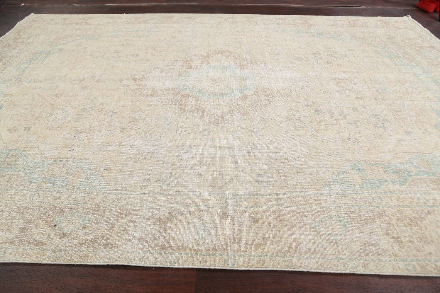 Antique Muted Distressed Tabriz Persian Area Rug 9x13 image 13