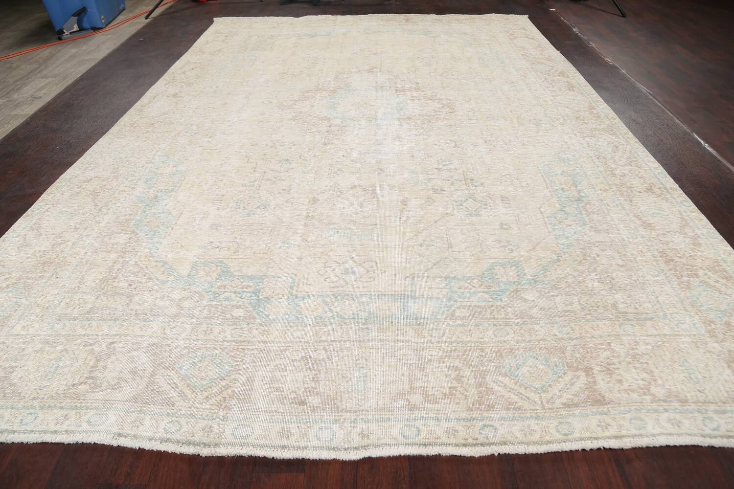 Antique Muted Distressed Tabriz Persian Area Rug 9x13 image 14