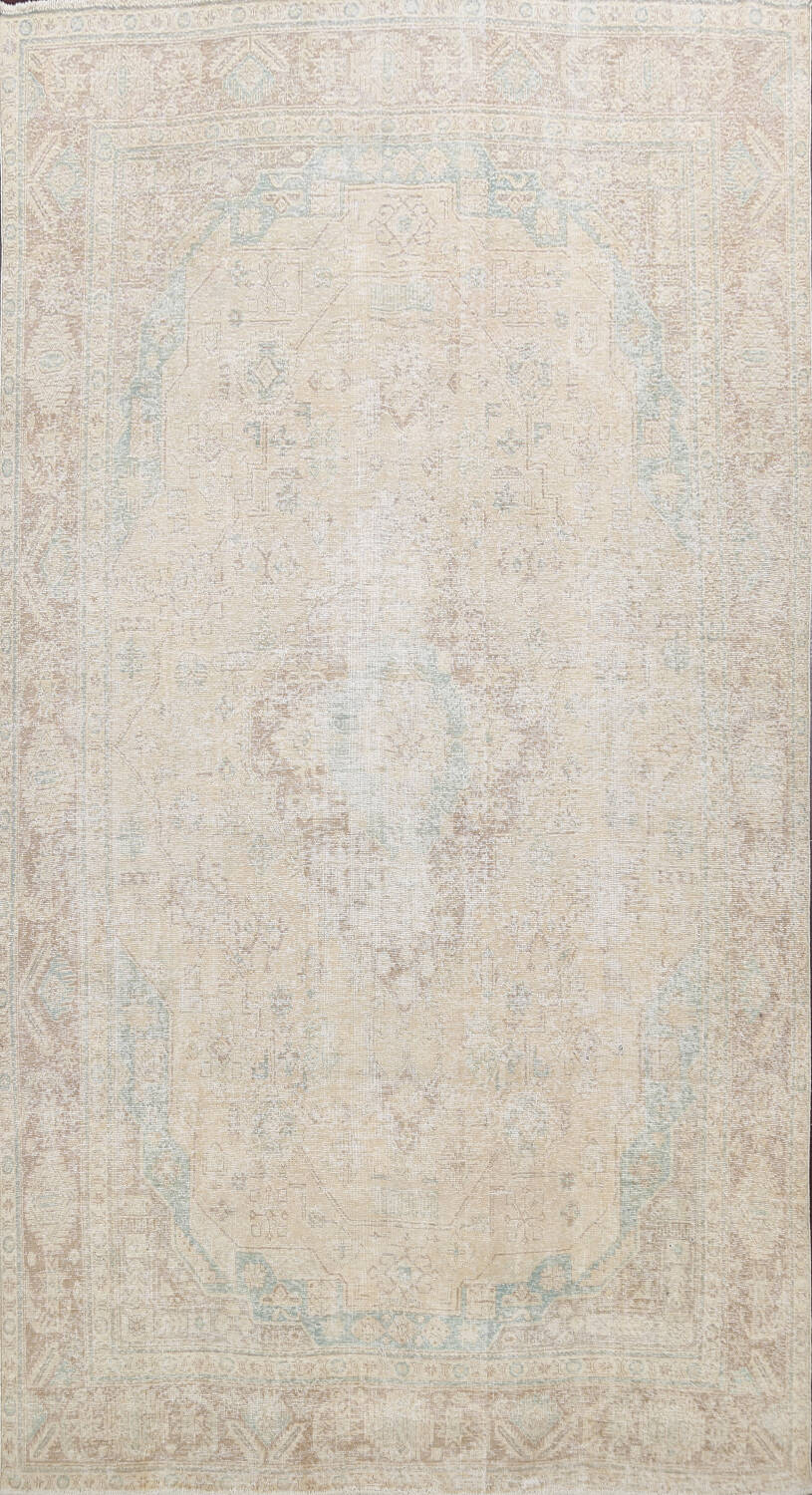 Antique Muted Distressed Tabriz Persian Area Rug 9x13 image 1