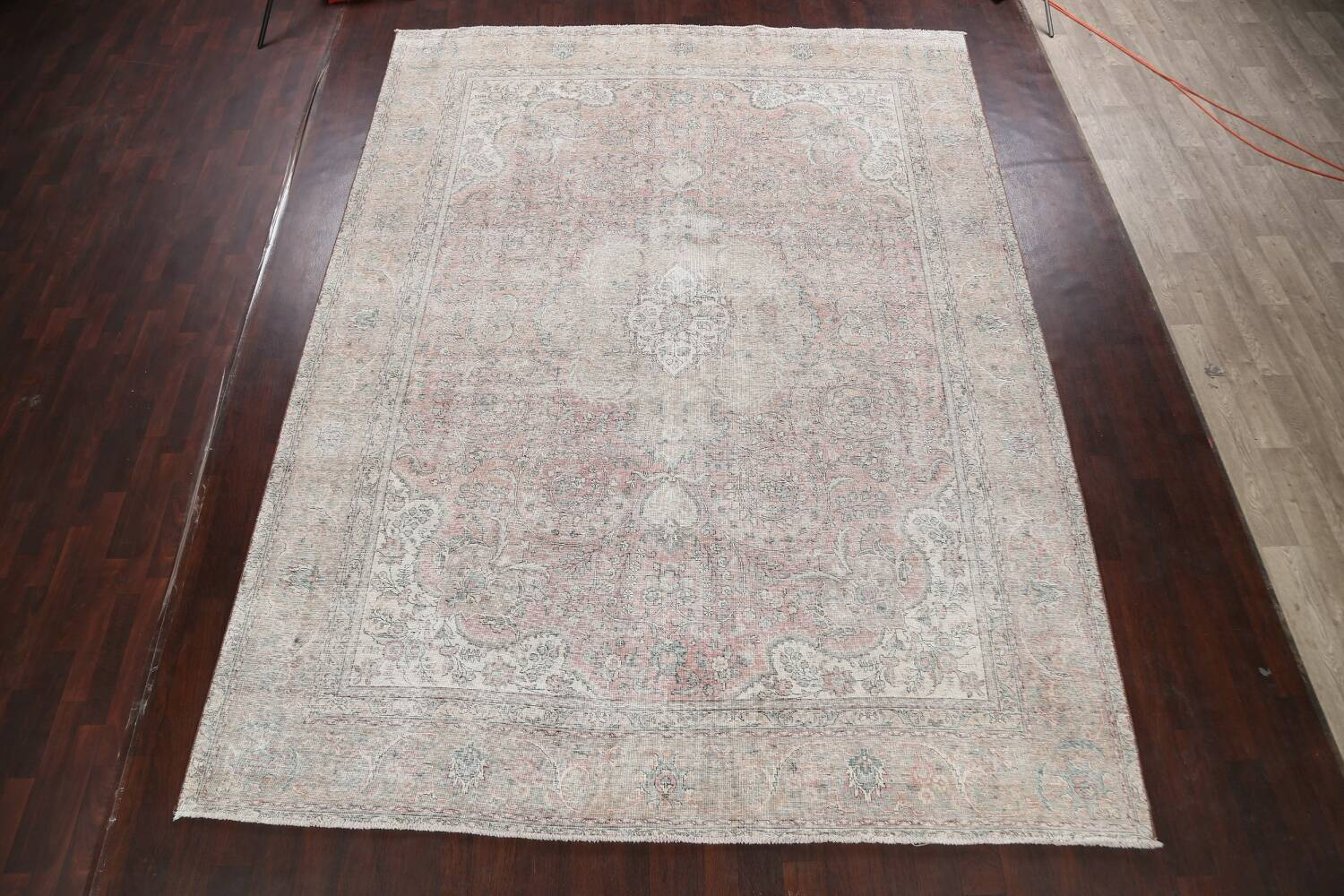 Antique Muted Distressed Tabriz Persian Area Rug 10x13 image 2