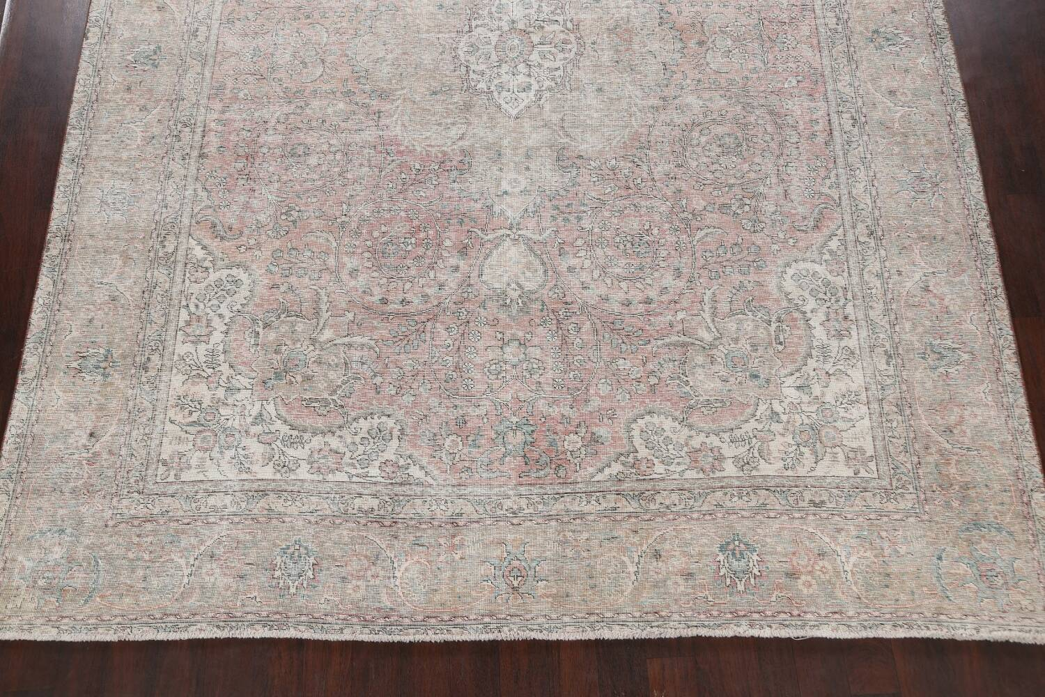 Antique Muted Distressed Tabriz Persian Area Rug 10x13 image 8