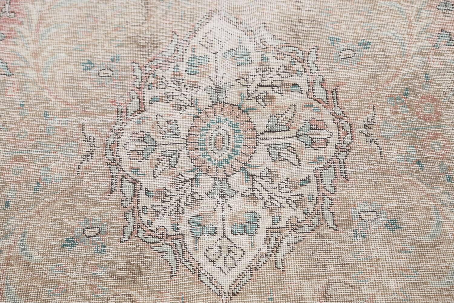 Antique Muted Distressed Tabriz Persian Area Rug 10x13 image 11