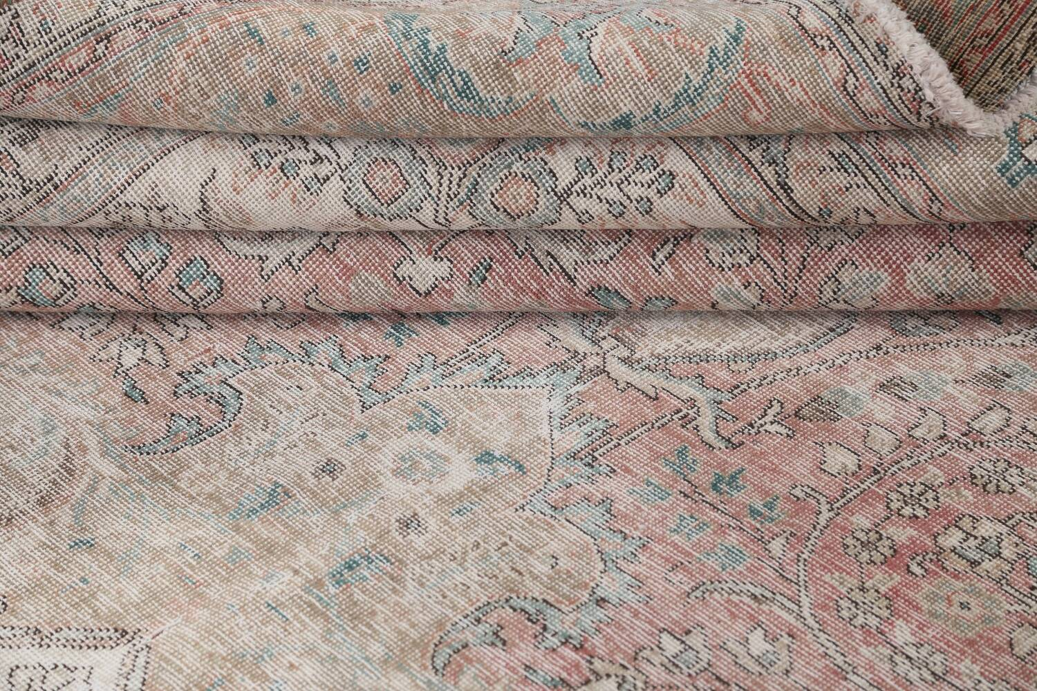 Antique Muted Distressed Tabriz Persian Area Rug 10x13 image 16