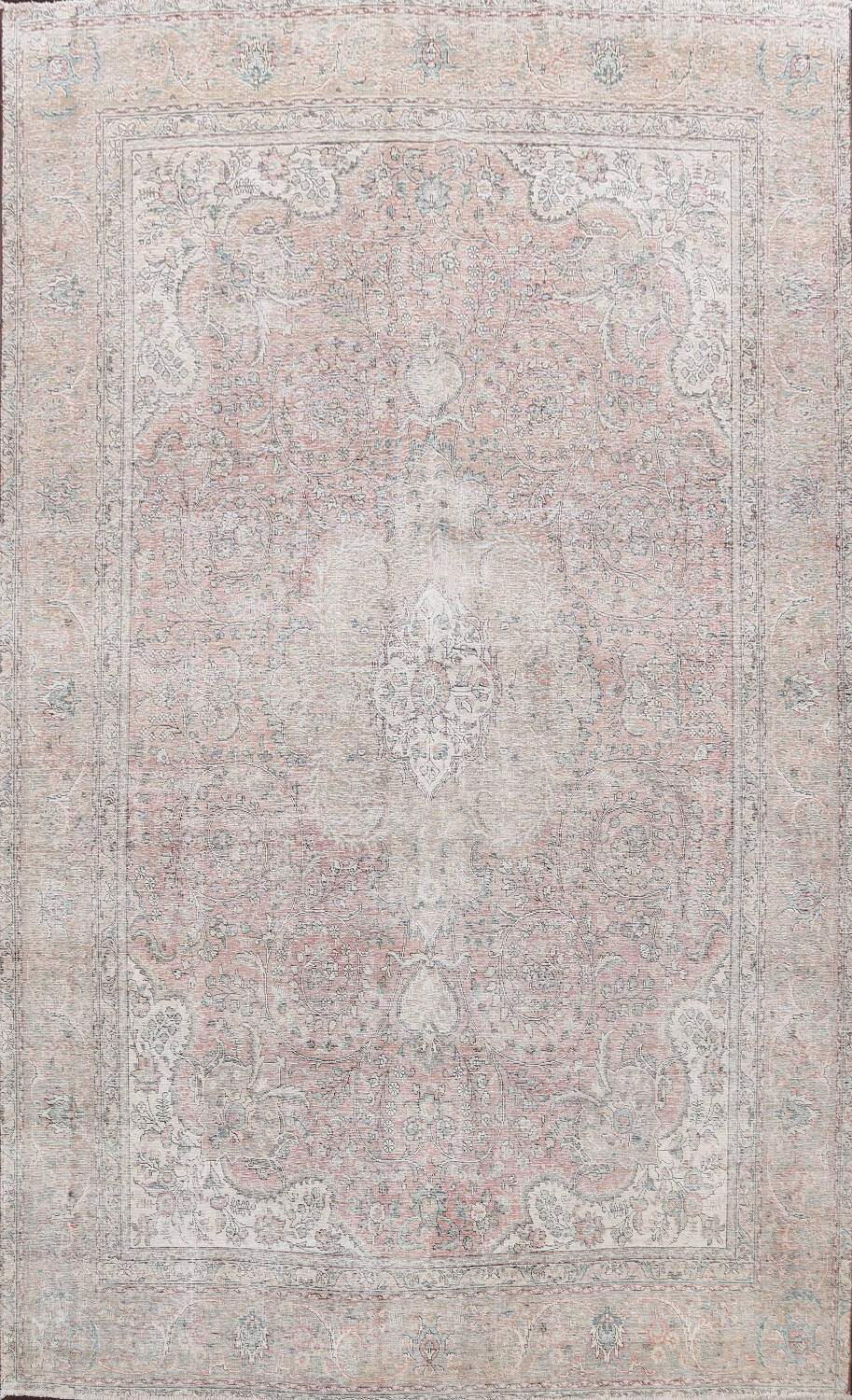 Antique Muted Distressed Tabriz Persian Area Rug 10x13 image 1