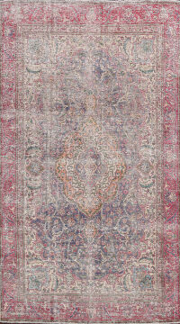 Distressed Floral Tabriz Persian Area Rug 6x9