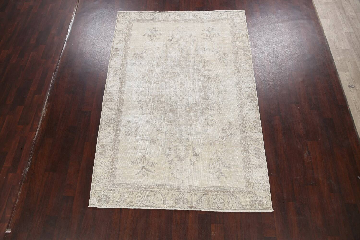 Muted Distressed Floral Tabriz Persian Area Rug 6x9 image 2